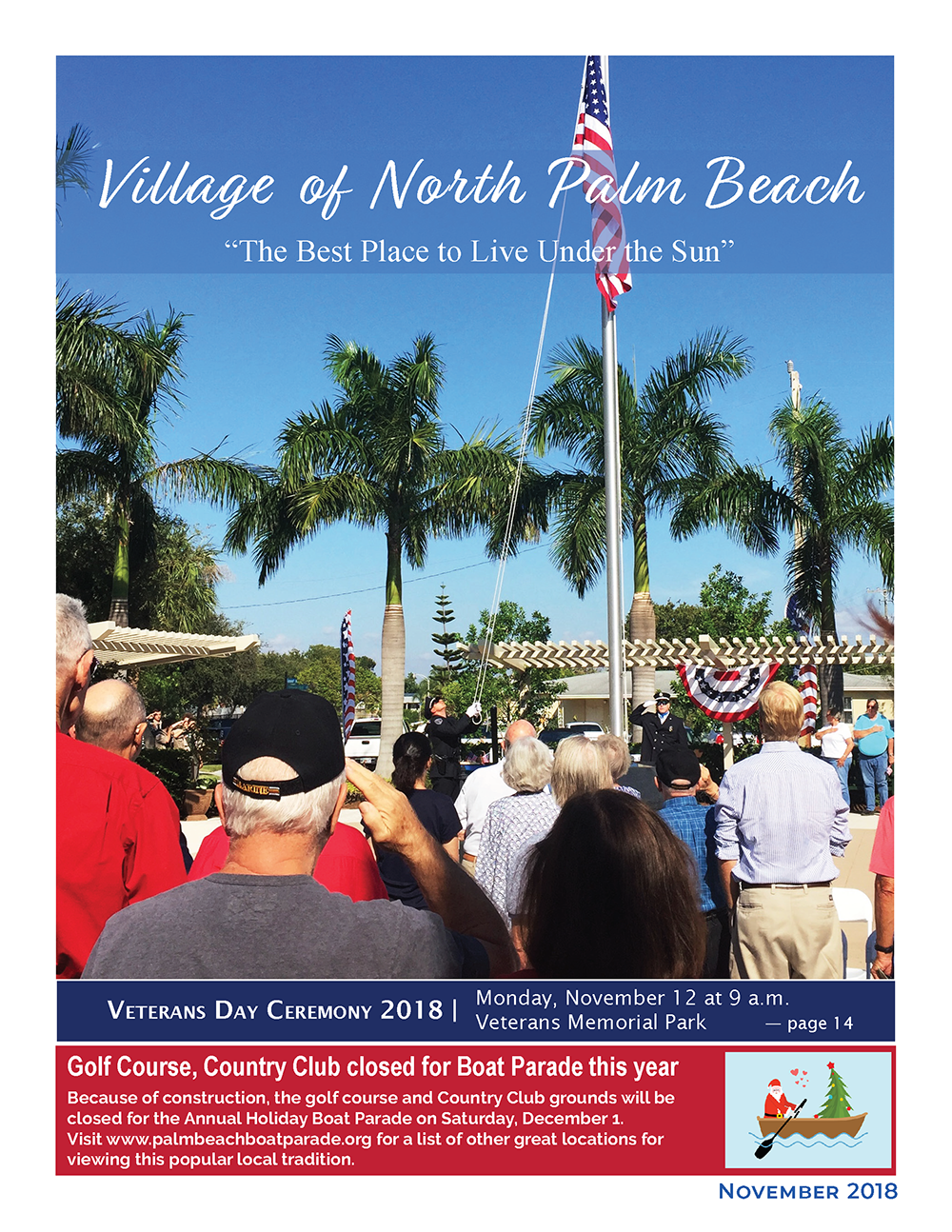 Image of cover of November 2018 Newsletter showing citizens saluting American flag