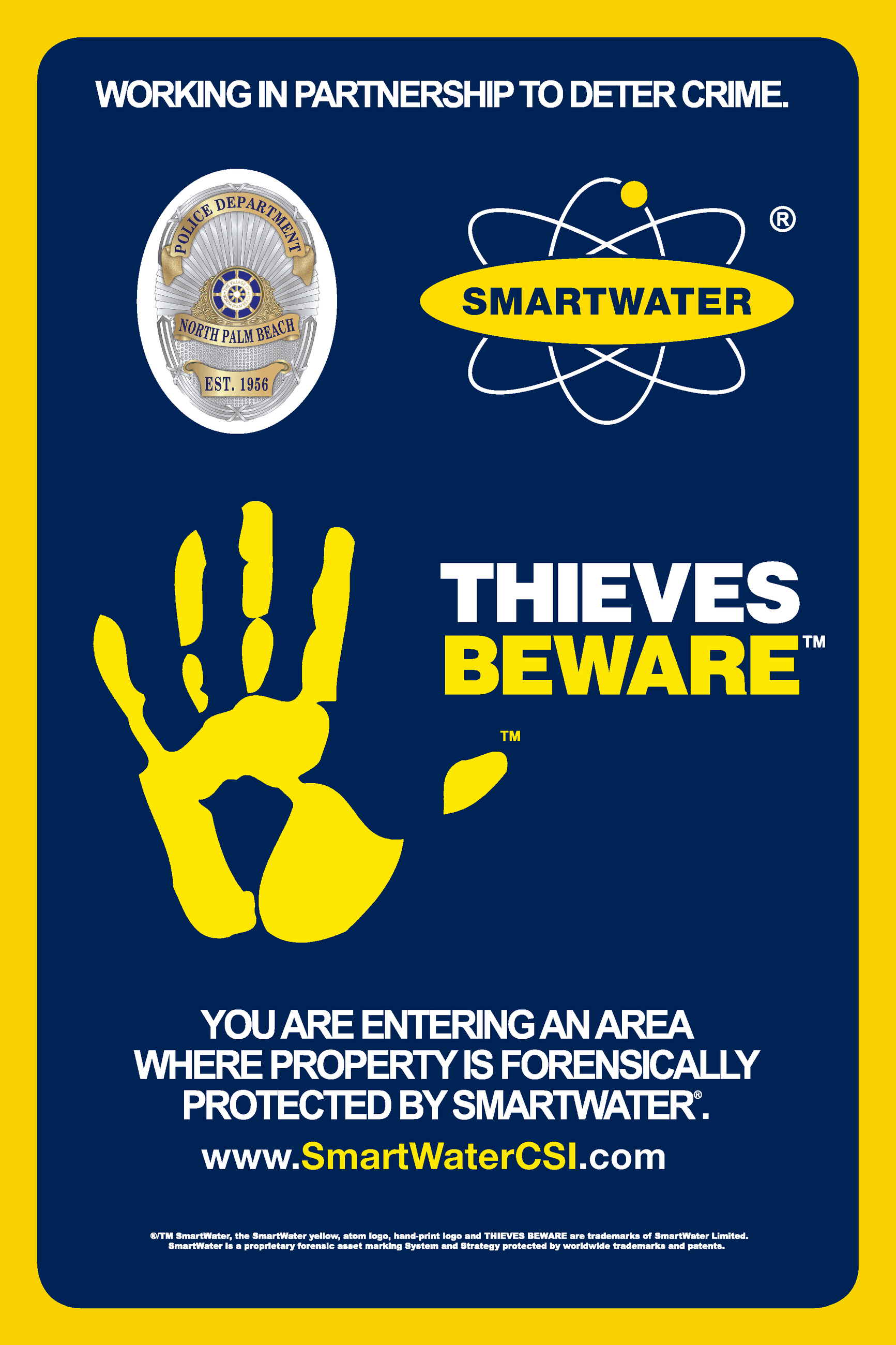 Image of SmartWater comany&#39s logo with North Palm Beach police badge in the upper left