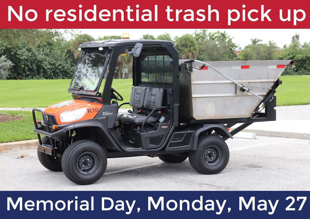 Image of small Village garbage truck with text saying No Pickup on memorial Day, May 27.