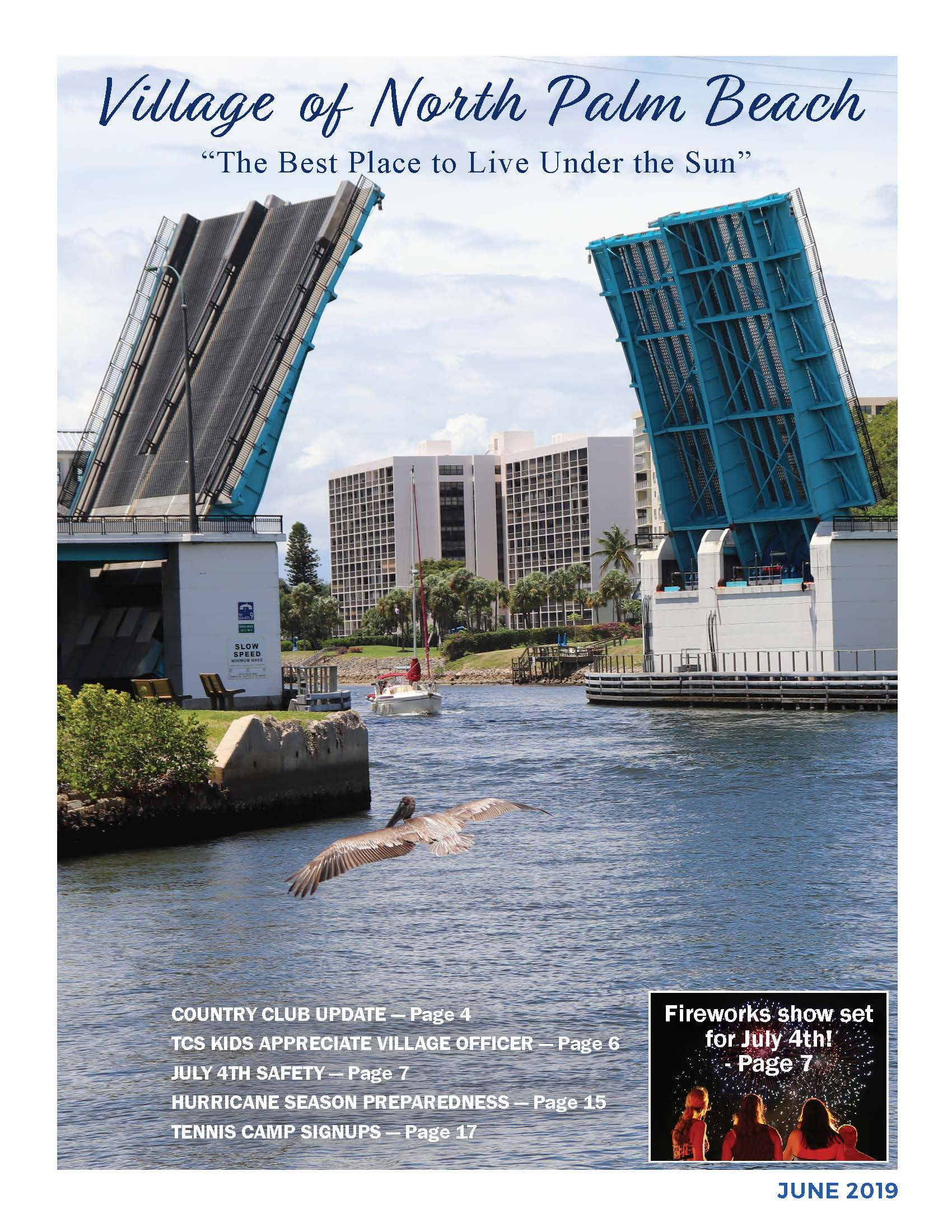 Cover of June 2019 newsletter with photo of Parker Bridge open, sail boat underneath and a pelican f