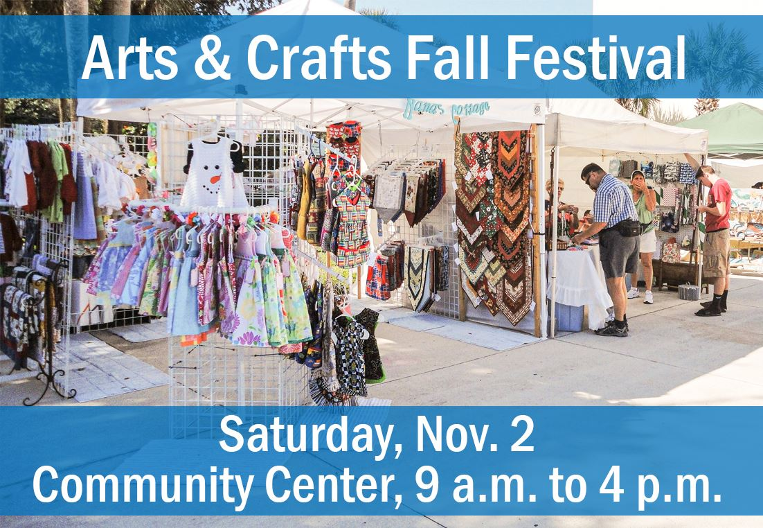 Photo of craft booth at festival, with text saying Saturday, November 2nd from 9 a.m. to 4 p.m. at t
