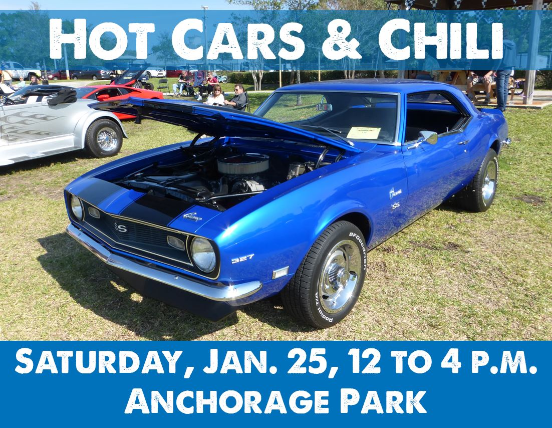Photo of sports car. Text says Hot Cars and Chili is January 25 from 10 to 4 p.m. Anchorage Park.
