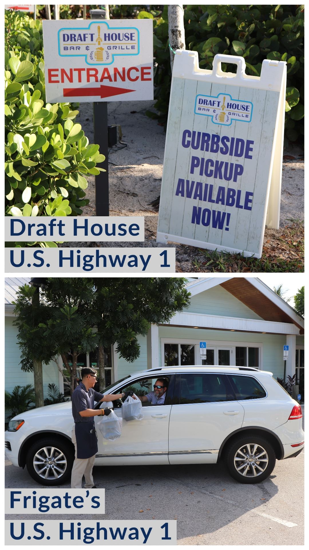 Draft House curbside service road sign
