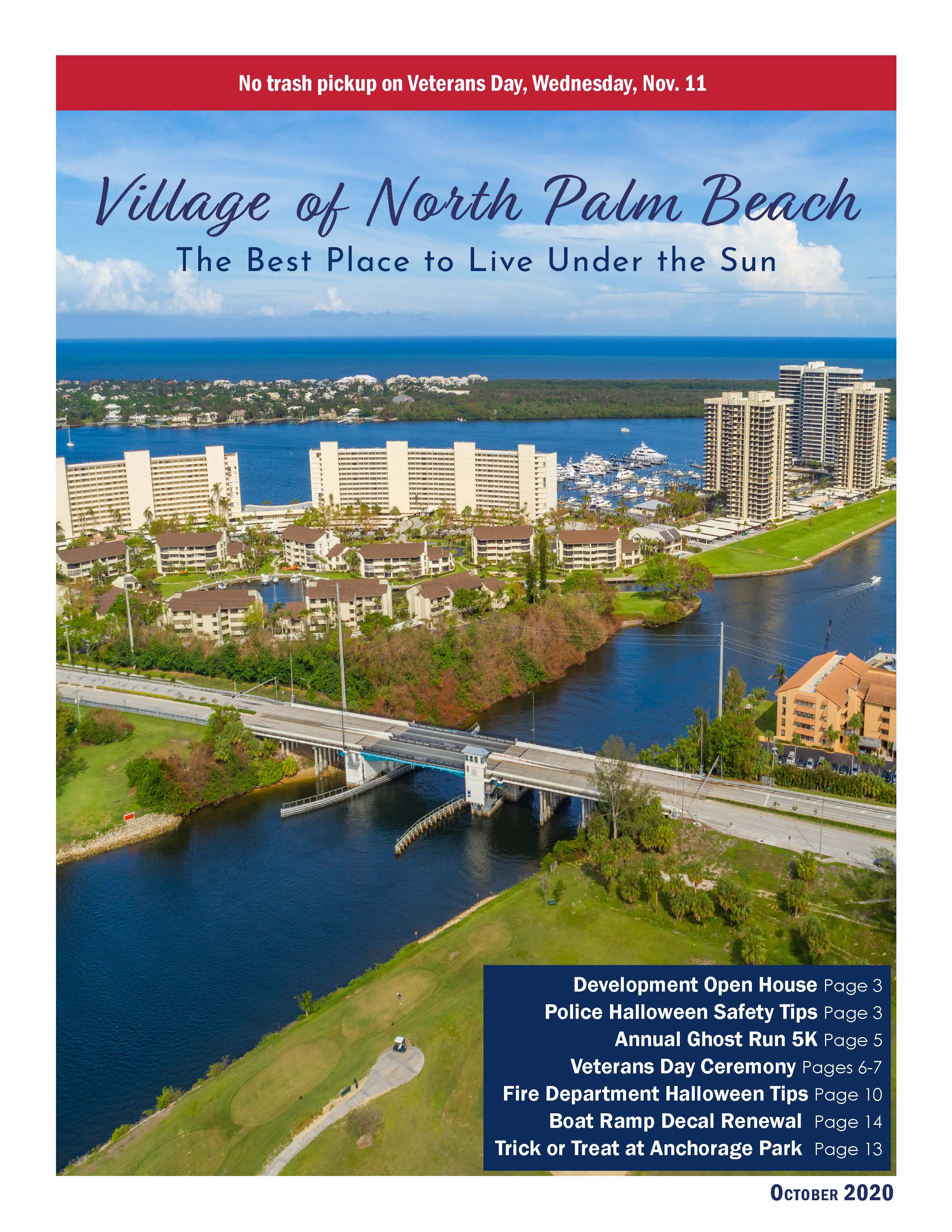 OCTOBER 2020 cover with aerial photo of Parker bridge