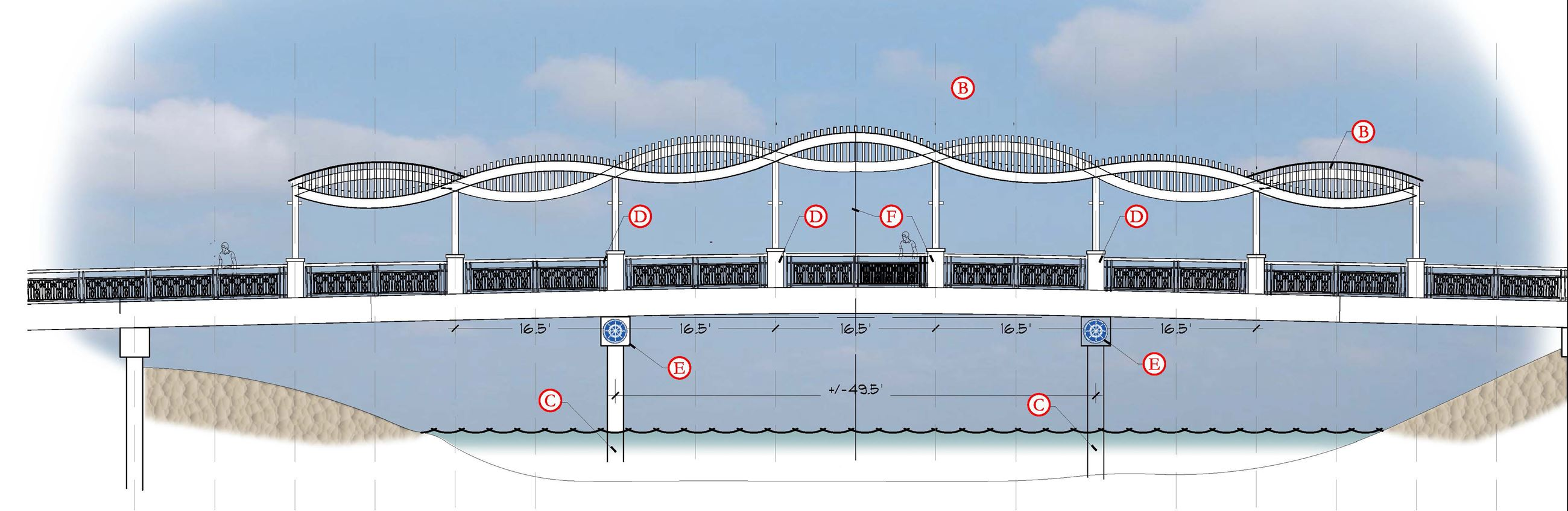 Proposed Prosperity Farms Road bridge rendering with wave-shaped trellis