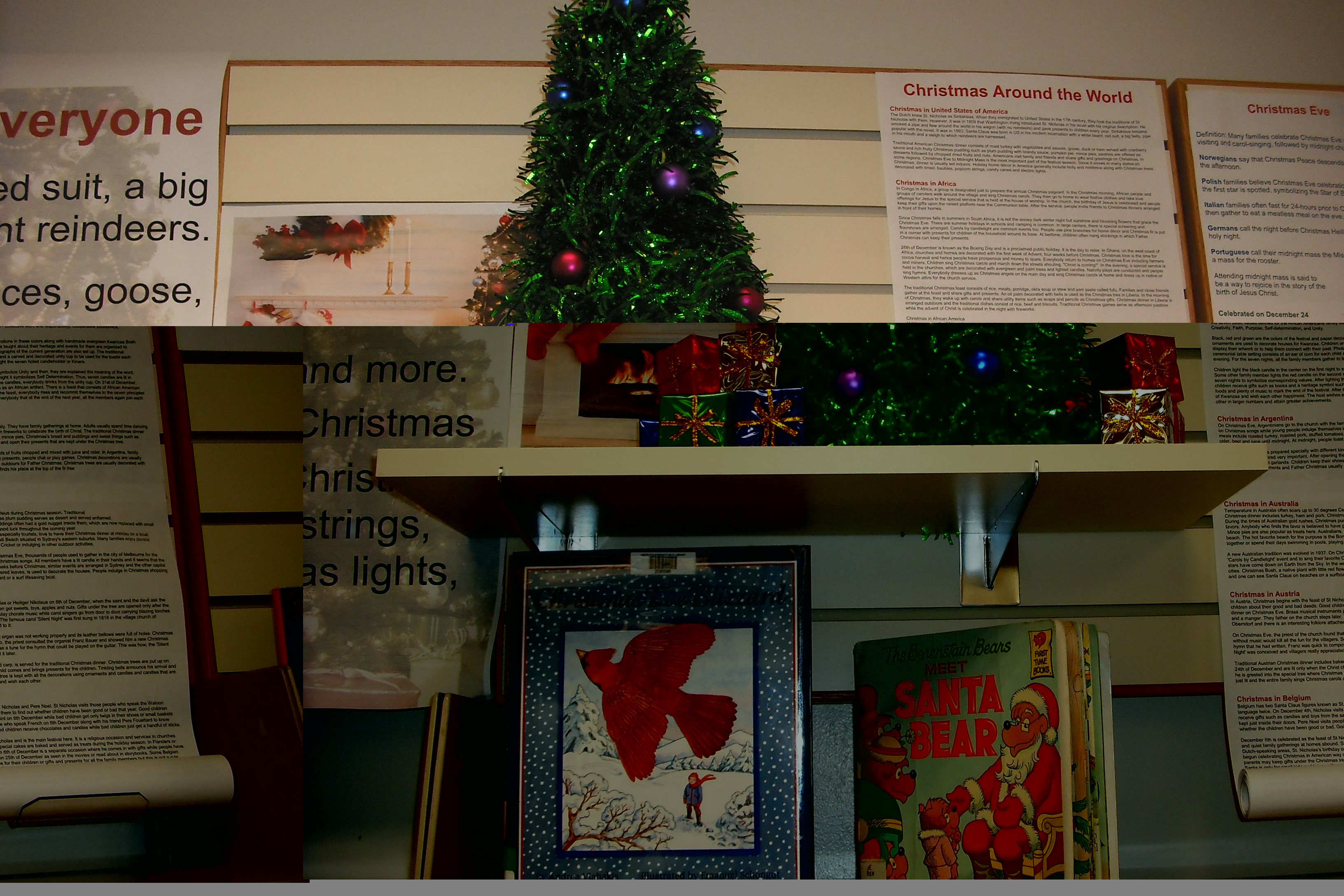A small Christmas Tree sits on a shelf surrounded by Christmas information and books
