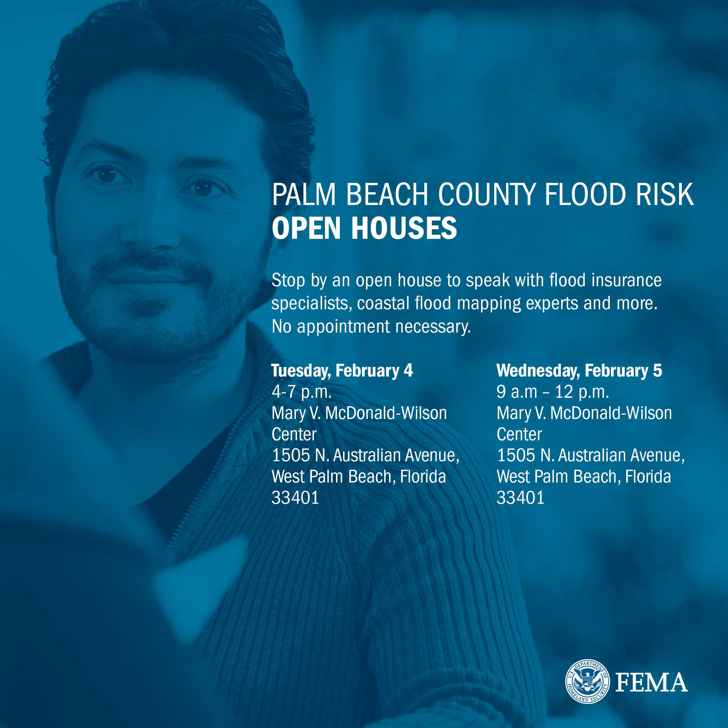 Man's face, faded, with text announcing FEMA open houses on February 4 at 4 p.m., and February 5