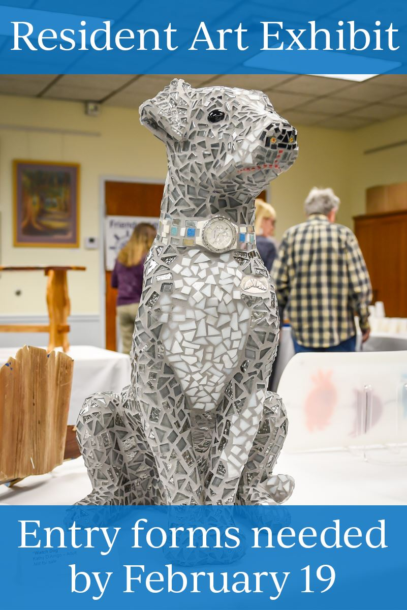 Resident Art Show promo 201. Dog sculpture
