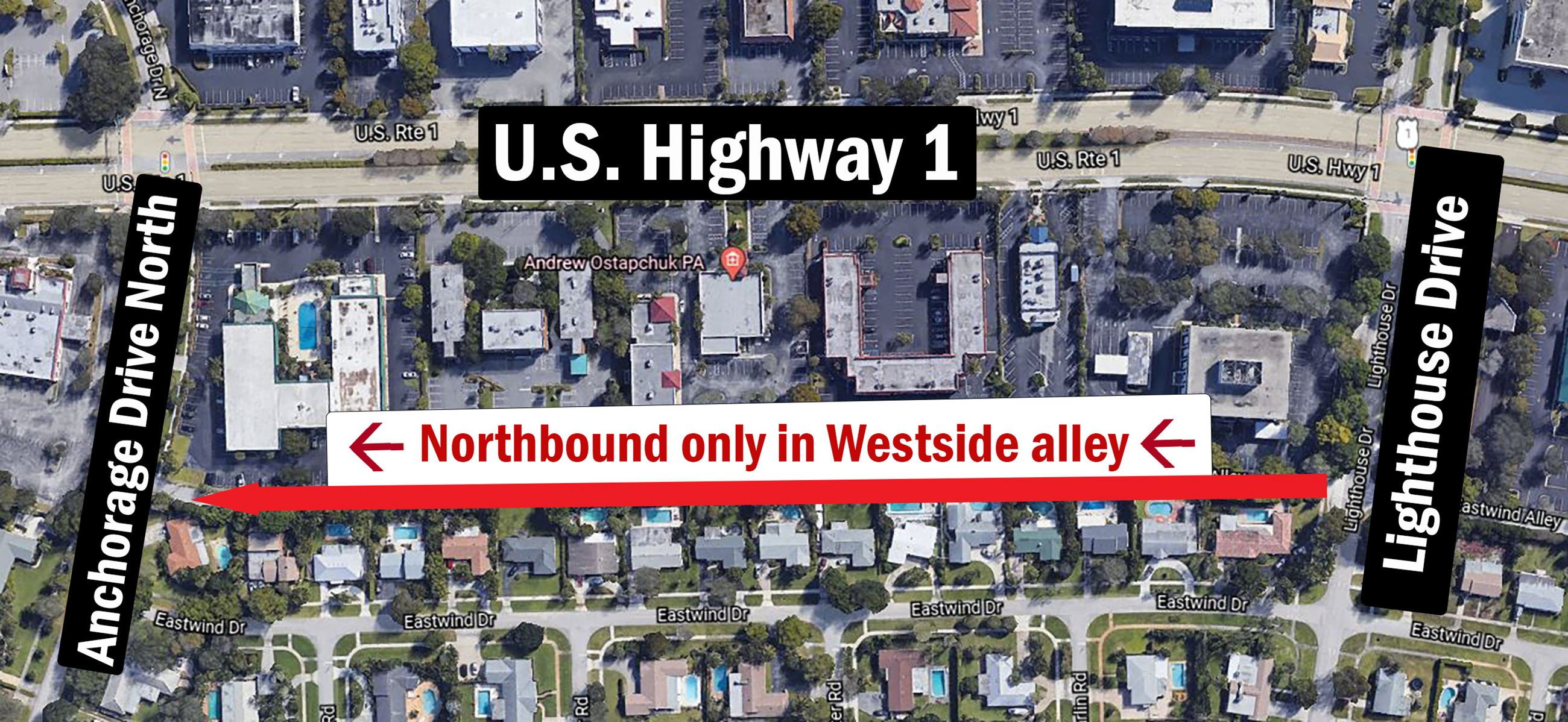 Westside alley closure. Aerial photo showing work area